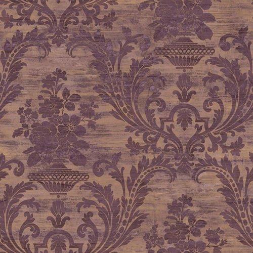 (CS35602 - Classic Silks 3 Damask Copper Purple Galerie Wallpaper )