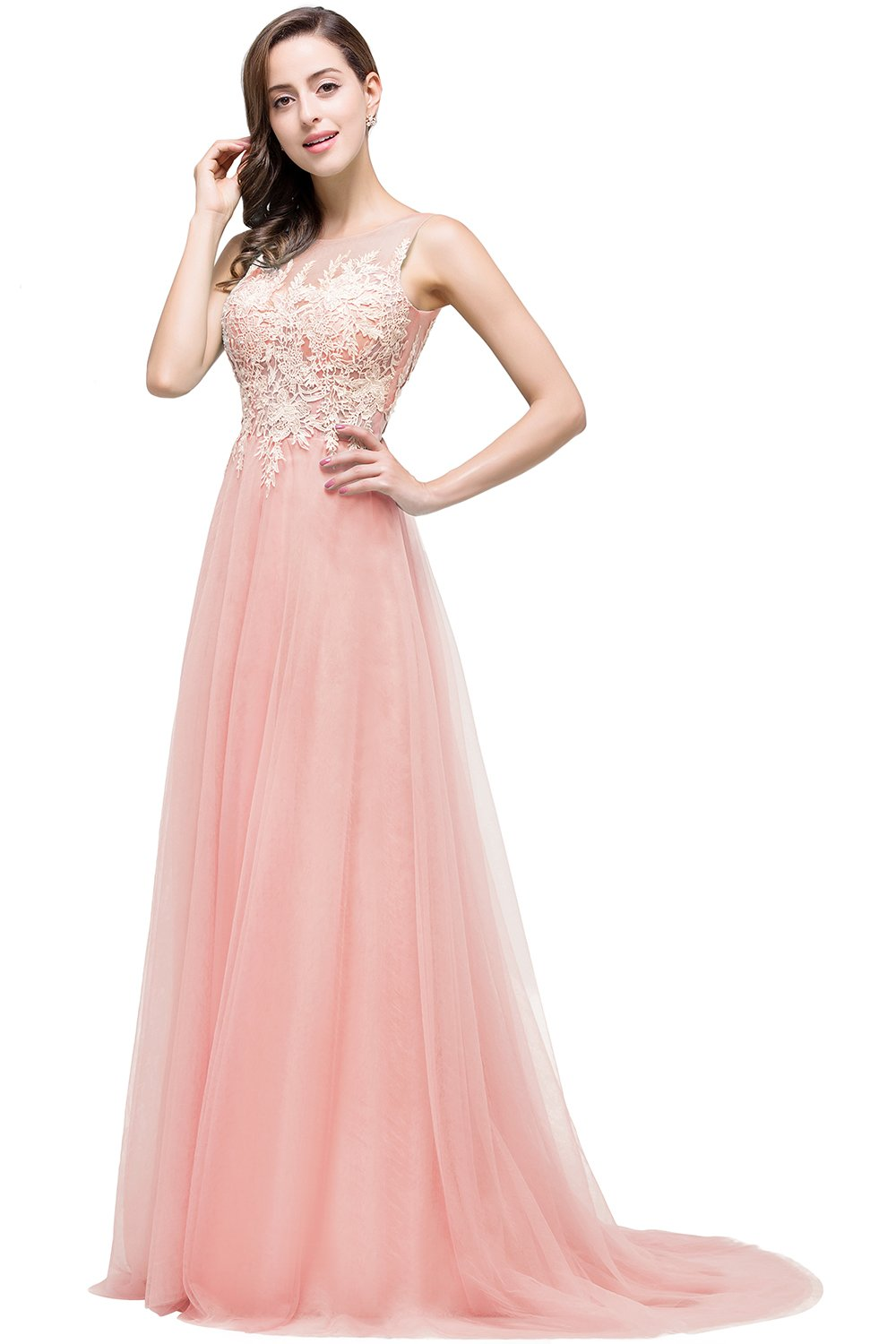Babyonlinedress Open V-back Sleeveless Tulle floral lace Long Prom dress