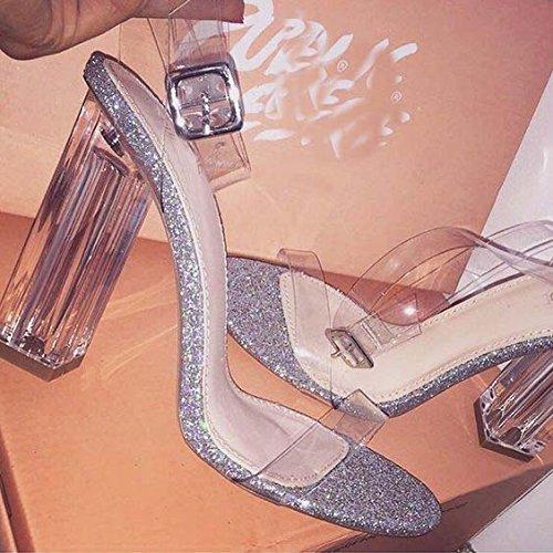 Sandalia de tacón grueso de PVC transparente de la manera simple y transparente con sandalias sandalias de tacón grueso Silver sequins