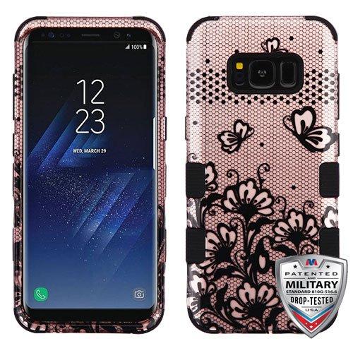 MyBat Cell Phone Case for Samsung Galaxy S8 - Black four-leaf Clover Rose (Rose Gold Clover)