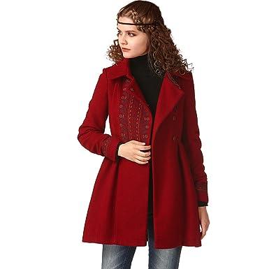 Artka - Abrigo de Cintura para Mujer, diseño étnico Vintage, Color Rojo: Amazon.es: Ropa y accesorios