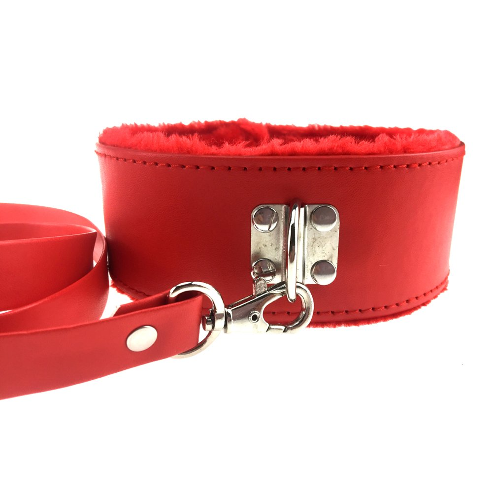 PU Leather Soft Neck Choker Collar With Chain Detachable Leash For Men Women