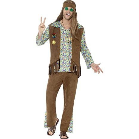 53cf8b6c62ab NET TOYS Outfit da Hippie da Uomo - XL (IT 58/60)   Flower Power ...