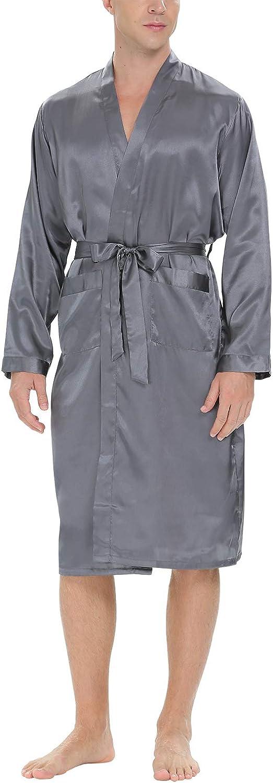 Aibrou Mens Satin Robe Long Bathrobe Lightweight Sleepwear