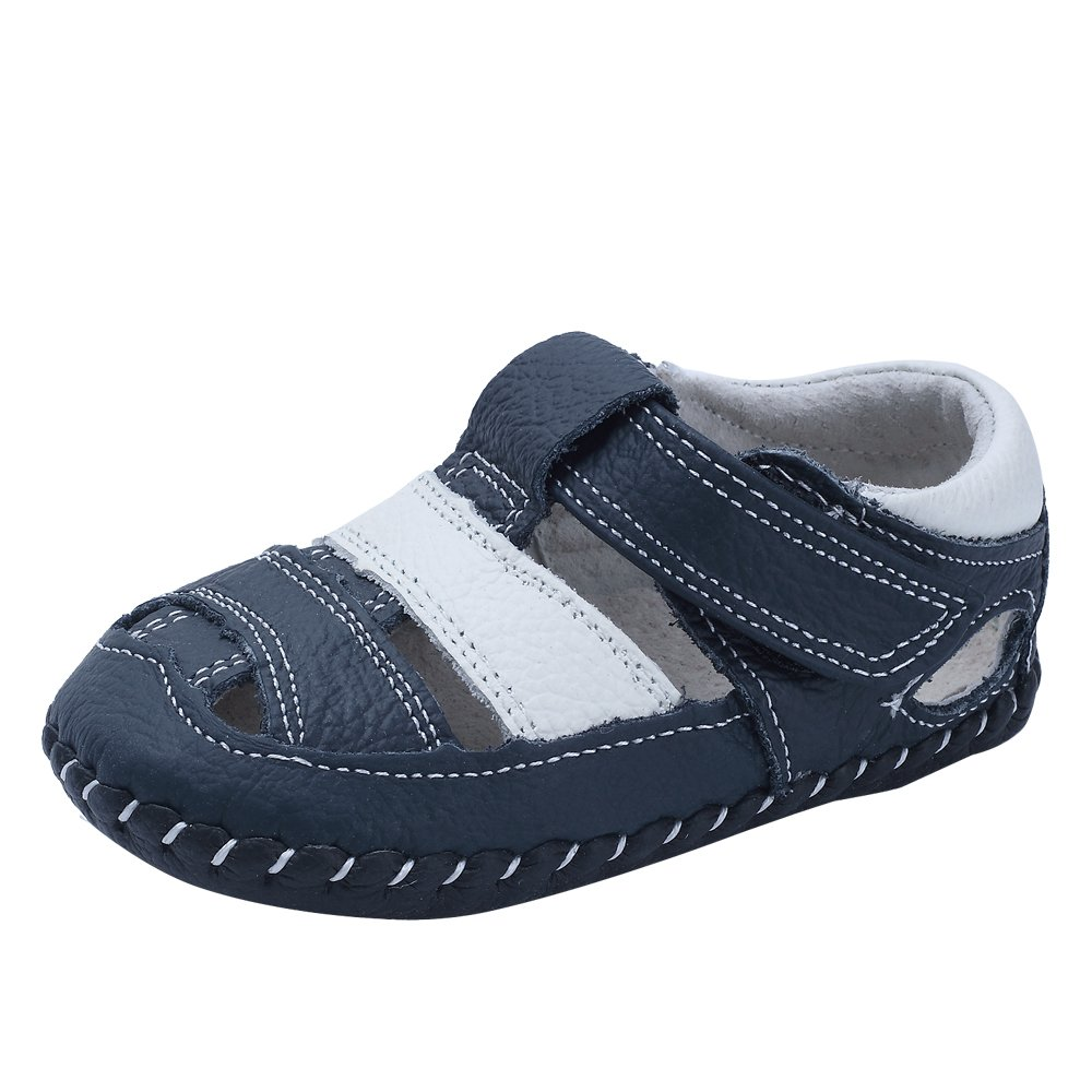 Kuner Baby Boys Girls Genuine Leather Soft Bottom Sandals First Walkers Shoes (12.5cm(12-18months), White+Dark Blue)