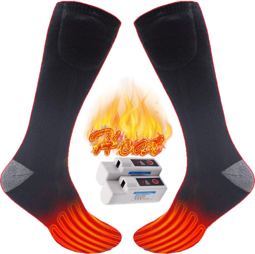 JANELIFE Men Women Electric Heated Socks Cold Weather Winter Warm Heated Socks Outdoor Indoor Thermal Heating Socks Camping Hiking Cycling Heating Foot Warmer