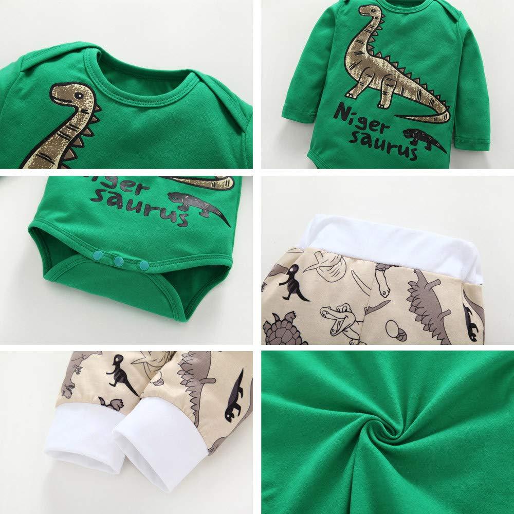 Cartoon Animal Dinosaur Printed Romper+Pants+Hat+Hair Strap Outfits Set for Infant Newborn Baby Boys Girls 4Pcs
