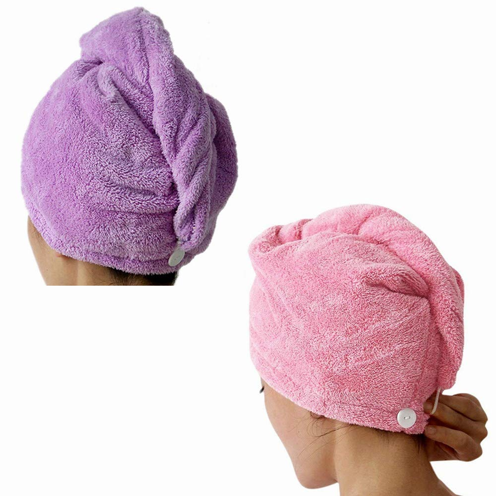 2 Packs MsFeng Superfine Fiber Soft Coral Fleece Ultra Absorbent Twist Dry Hair Cap Towel Bath Head Wrap Turban (Pink and Purple) HDC-PP