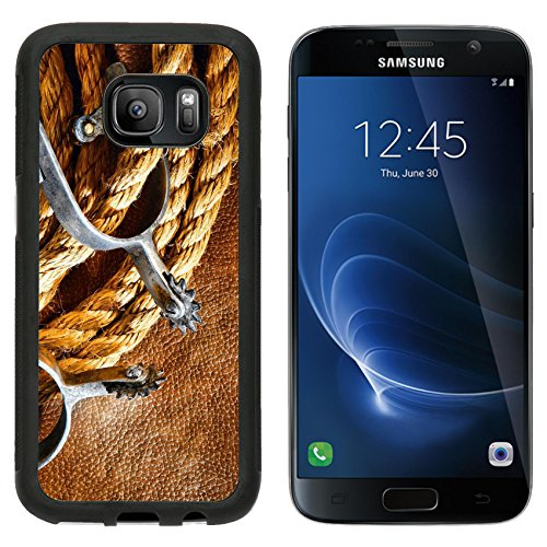 Premium West Sd Card (MSD Premium Samsung Galaxy S7 Aluminum Backplate Bumper Snap Case IMAGE ID: 11347200 American West rodeo cowboy ranching rope with western riding spurs on old brown leather grunge background)