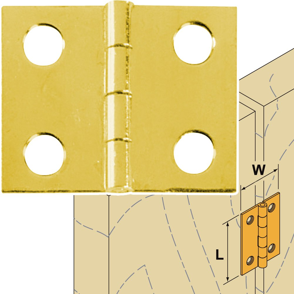 Platte River 120953, Hardware, Hinges, Butt, 1'' X 1'' Brass Plated Hinge, 5-pack