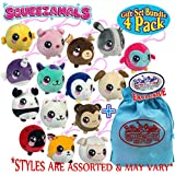 Squeezamals Squishamals 3-Inch Clip On Surprise Mystery Plush Gift Set Blind Bundle with Exclusive Matty's Toy Stop Storage Bag - 4 Pack (Assorted)