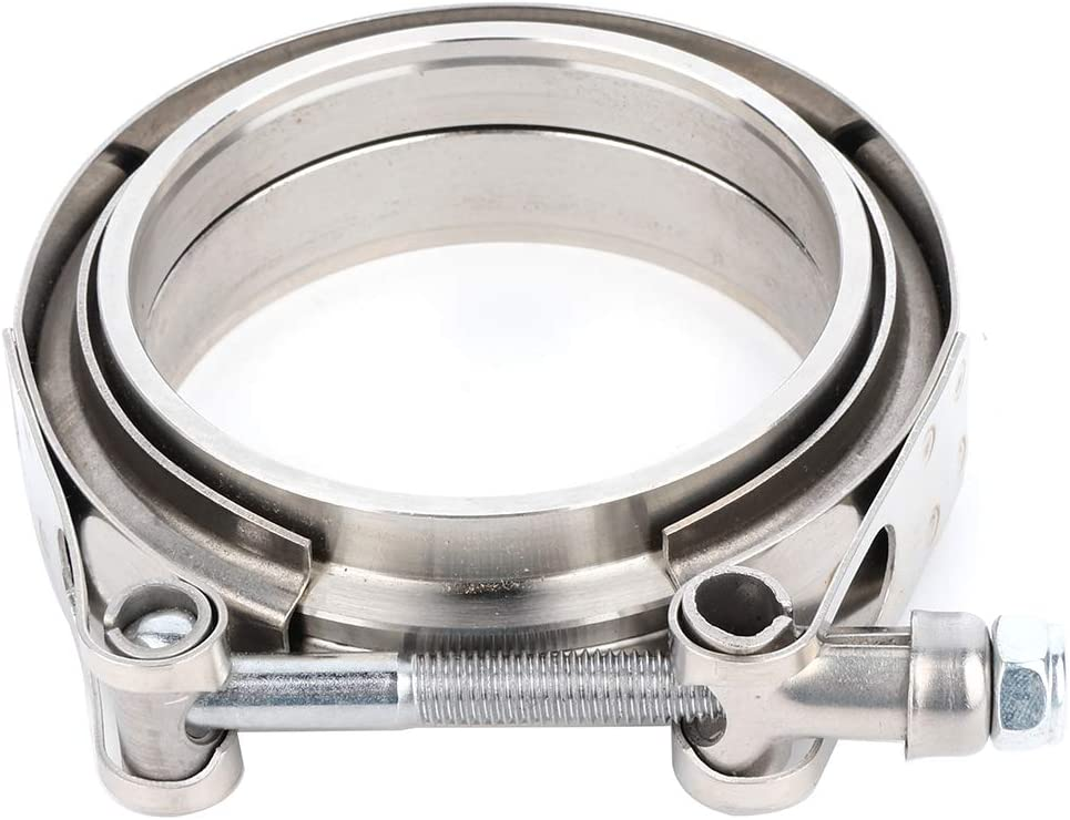 Downpipes Perfect for Turbo LUJUNTEC 3 inch 76mm 7.6 CM V Band Clamp with CNC Stainless Steel Flanges Exhaust Systems-Band Flange Kit 1 pcs
