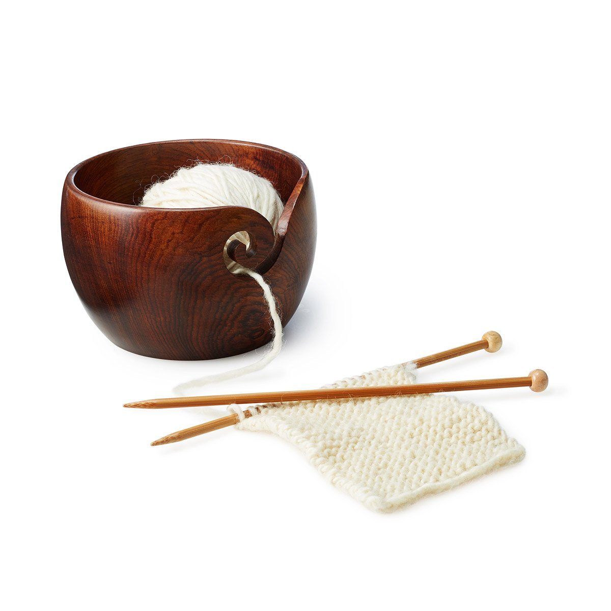 Premium Rosewood Crafted Wooden Portable Yarn Bowl Holder for Knitting Crochet 6 x 6 x 4 inch Christmas Gift Set | Hind Handicrafts