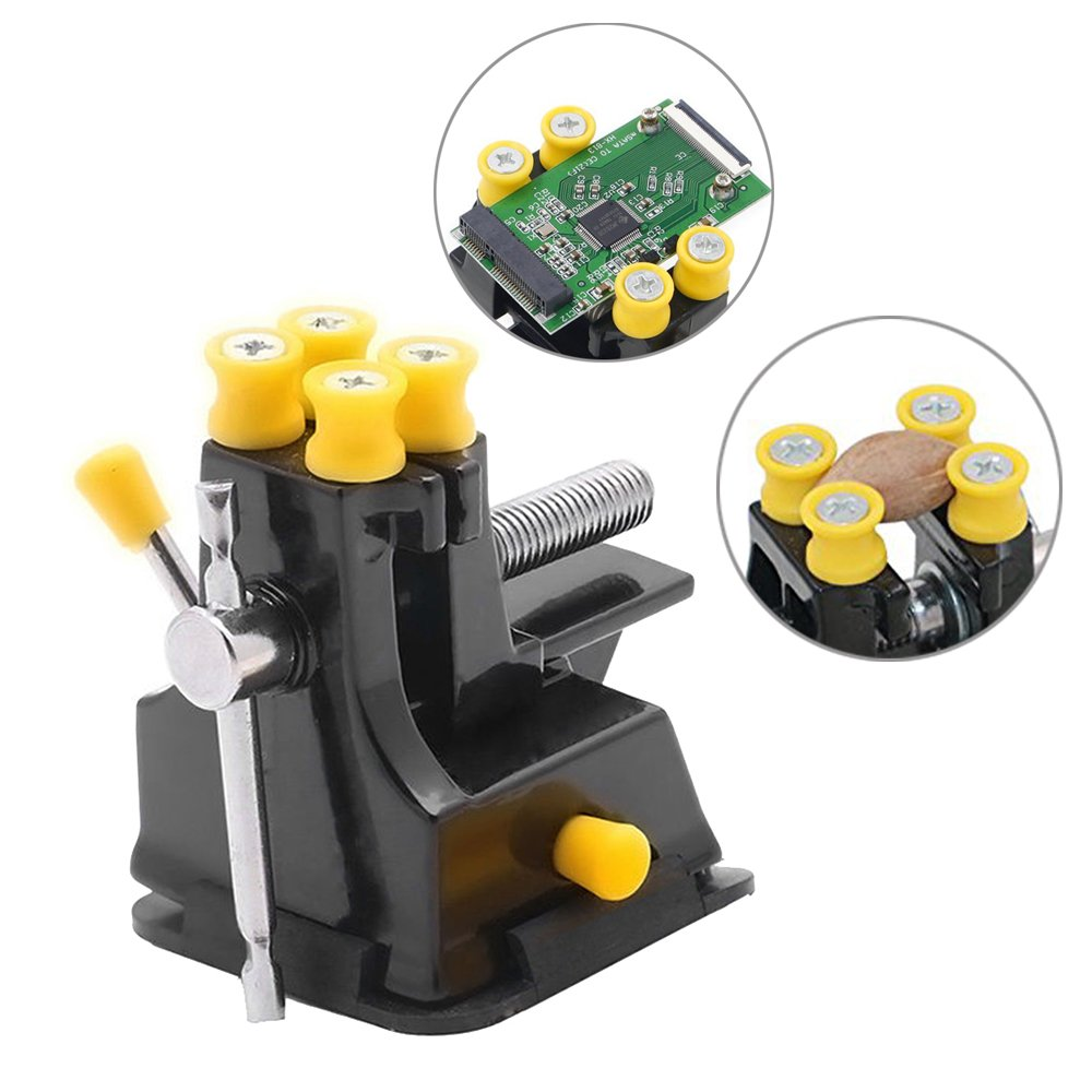 Yakamoz Mini Suction Vise Drill Press Vise Walnut Clamp Table Bench Vice for Jewelry Nuclear Clip On DIY Carving Tool