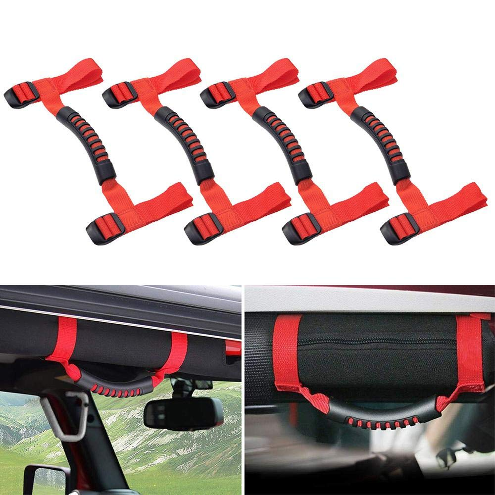 Teepao 4Packs Car Door Grab Handles Headvy Duty Grip Handle Holder Roll Bar Grab Handles for Jeep Wrangler JK JL YJ TJ Sports Sahara Freedom Rubicon X & Unlimited 1987-2018 (Red)