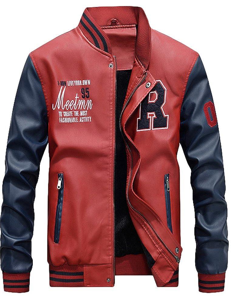 Mordenmiss Men's Basic Leather Letter Man Baseball Varsity Jacket Bomber Outwear LG157