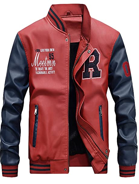 limited style temperament shoes price Mordenmiss Men's Basic Leather Letter Man Baseball Varsity Jacket Bomber  Outwear
