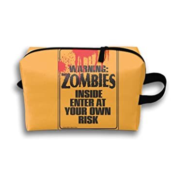 Dark Zombie Makeup Pouch with Top Handle for Men and Women