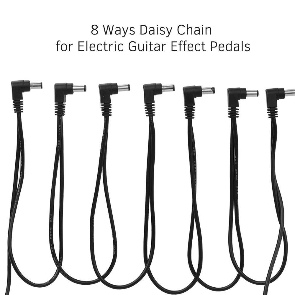 JJmooer Cavo di alimentazione ad angolo retto a 1 via da 18 V 2 A per alimentazione per pedali effetti per chitarra
