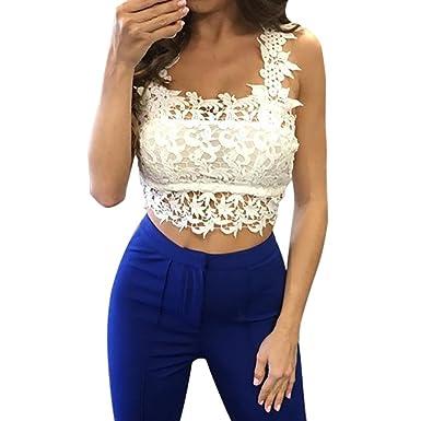 58ca0a2674f0c6 Bravetoshop Women's Summer Lace Crop Halter Short Tanks & Camis Tops Blouse  (White, ...