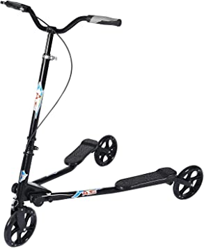 AODI 3 Wheel Foldable Scooter Swing Scooter Tri Slider Kick Wiggle Scooters Push Drifting with Adjustable Handle for Boys/Girl/Adult Age 7 Years Old ...