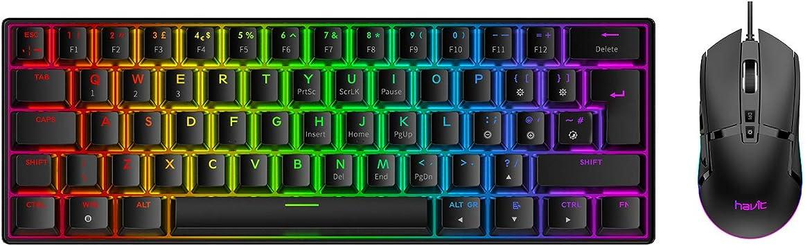 havit 60% - Juego de teclado y ratón mecánicos para juegos (cable Bluetooth/inalámbrico, 62 teclas, mecánica), color marrón