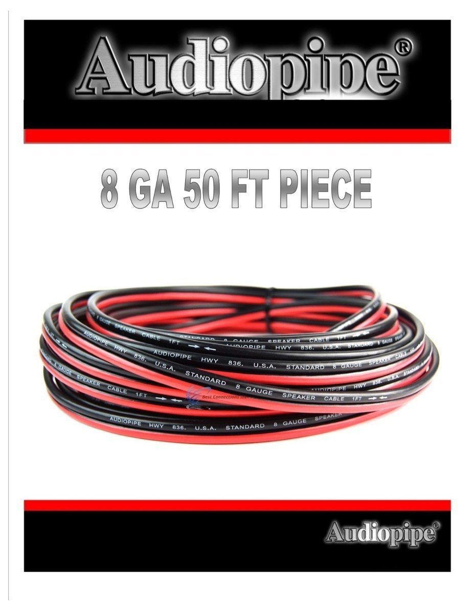 8 Gauge 50 Feet Speaker Woofer Red Black Wire Cable Car Home Audio Stranded Copper Mix