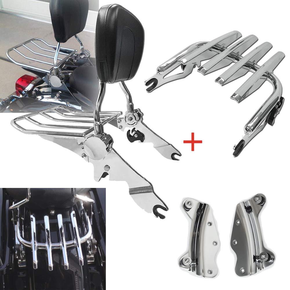 BBUT Adjustable Passenger Backrest Sissy Bar w//Stealth Luggage Rack Kit and 4 Point Docking Hardware Kits For Harley Touring 2014 2015 2016 2017 2018 2019