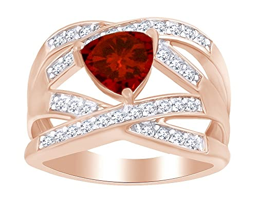 Garnet Solitaire Ring 14K White Gold Ovr Sterling 925 4.50 Ct