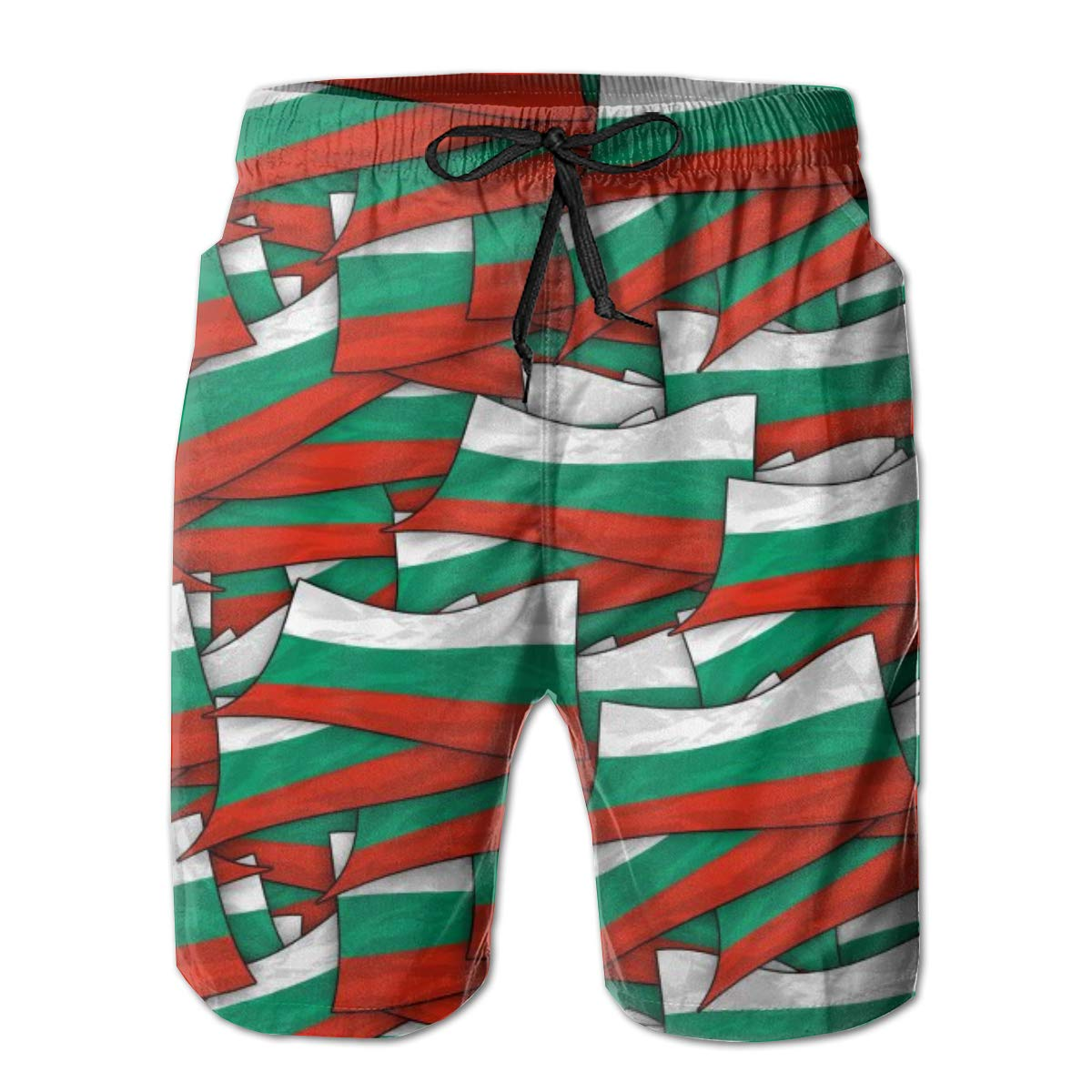 Mens Swim Trunks Quick Dry Summer Holiday Beach Shorts with Mesh Lining Bulgaria Flag Wave Collage Beachwear