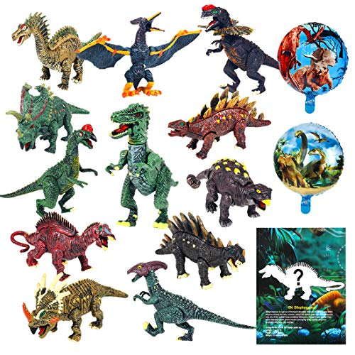 Dinosaur Toys Figures playset 12pcs Activity buildable Dinosaur Set with Balloon aducation Book playmat,Preschool Learning Gift for Kids 3 4 5 6 Years Old Boys Girls