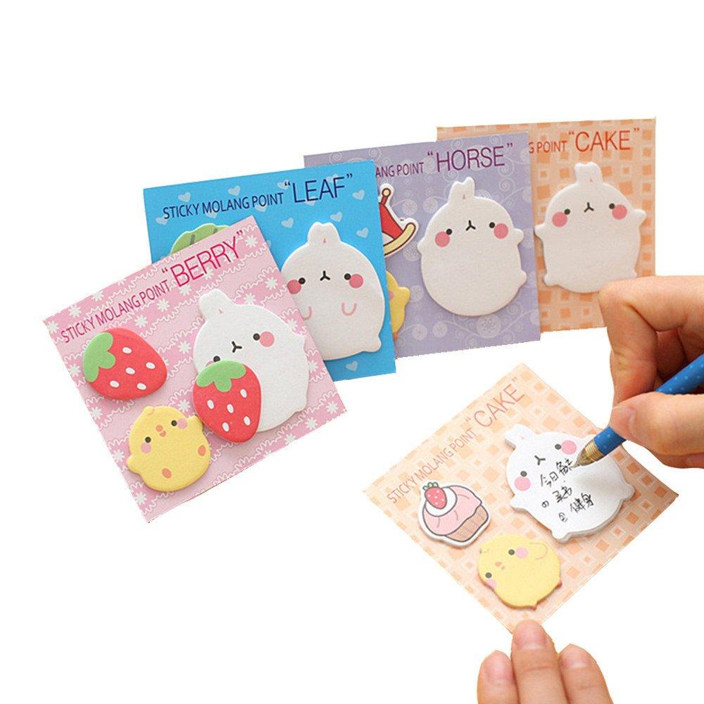 Affe 4pcs Kawaii Lapin Sticky Notes Autocollant Memo Pad Dessin animé étiquette école bureau d'alimentation ZGJ