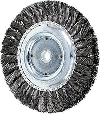 "PFERD 81881 Single Row Power Knot Wire Wheel Brush with Standard Twist, Round Hole, Carbon Steel Bristles, 6"" Diameter, 0.014"" Wire Size, 5/8""-1/2"" Arbor, 9000 Maximum RPM"