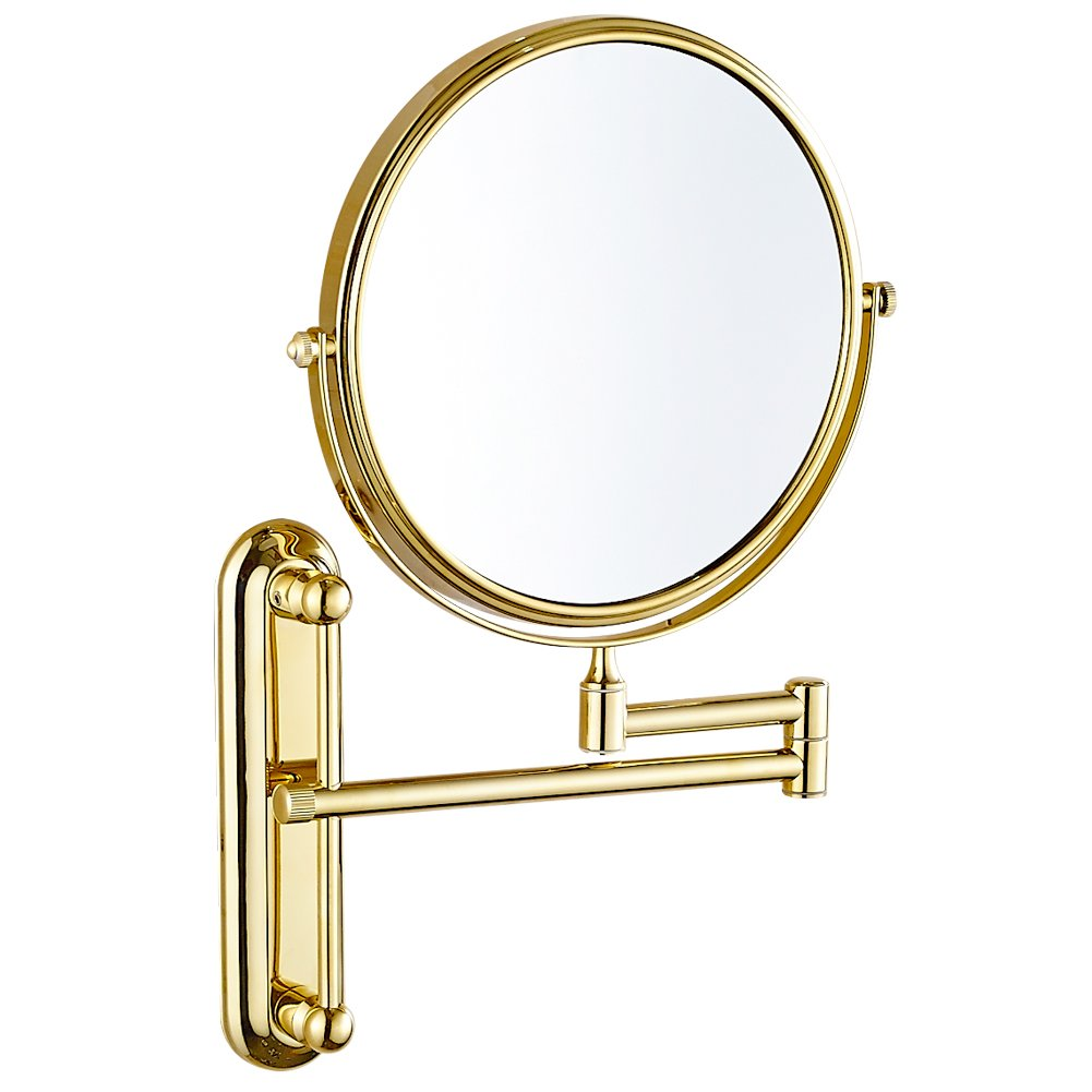 GURUN 10x Magnification Adjustable Round Wall Mount Mirror 8-inch Double Sided Makeup Mirrors,Gold Finish M1806J(8in,10x) by GURUN (Image #4)