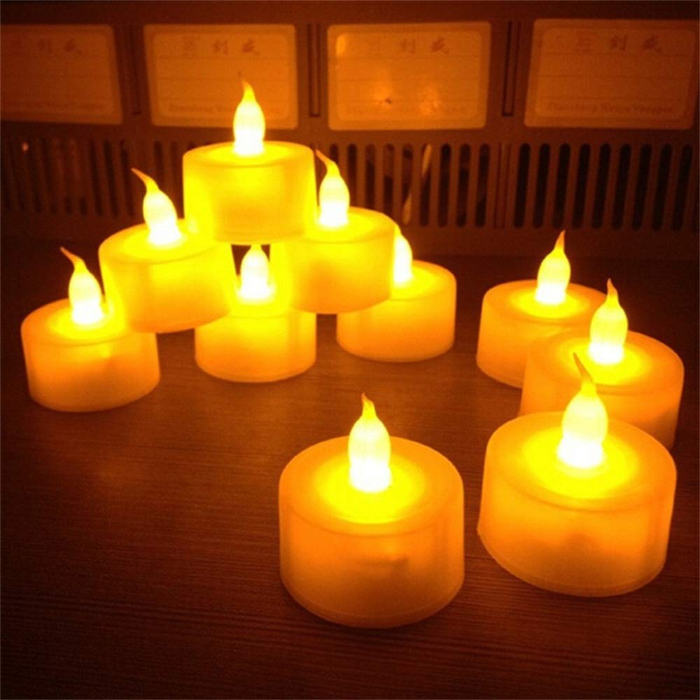 BILUKA Tea Lights, Flameless LED Tea Lights Candles, Battery Powered Fake Candles,Warm Amber, Ideal Wedding, Party, Holidays, Home Decoration Outdoor, Pack of 24 XJH