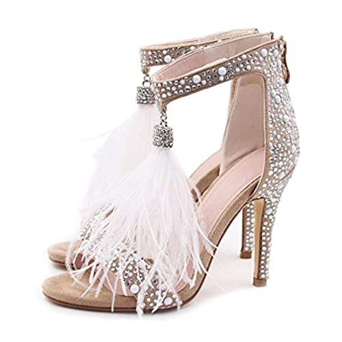 Hinyyrin Wedding Shoes for Bride White Rhinestones Feather Tassel Wedding  Dress Shoes Open Toe high Heel 8cc50d1d226c