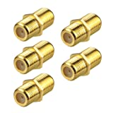 VCE 5-Pack Coaxial Cable Connector, F-Type Coax RG6 Cable Extension Adapter Gold Plated