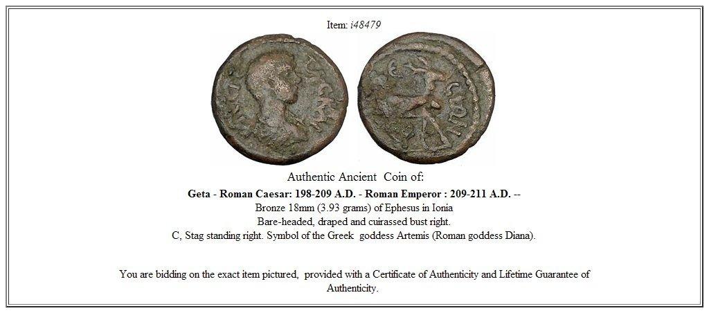 Amazon Geta Ephesus In Ionia Ancient Roman Coin Stag Symbol Of