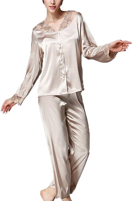 Asskyus Conjuntos de Pijama de satén para Mujer Camisas Bordadas de Encaje Camisas y Pantalones de Dormir: Amazon.es: Ropa y accesorios