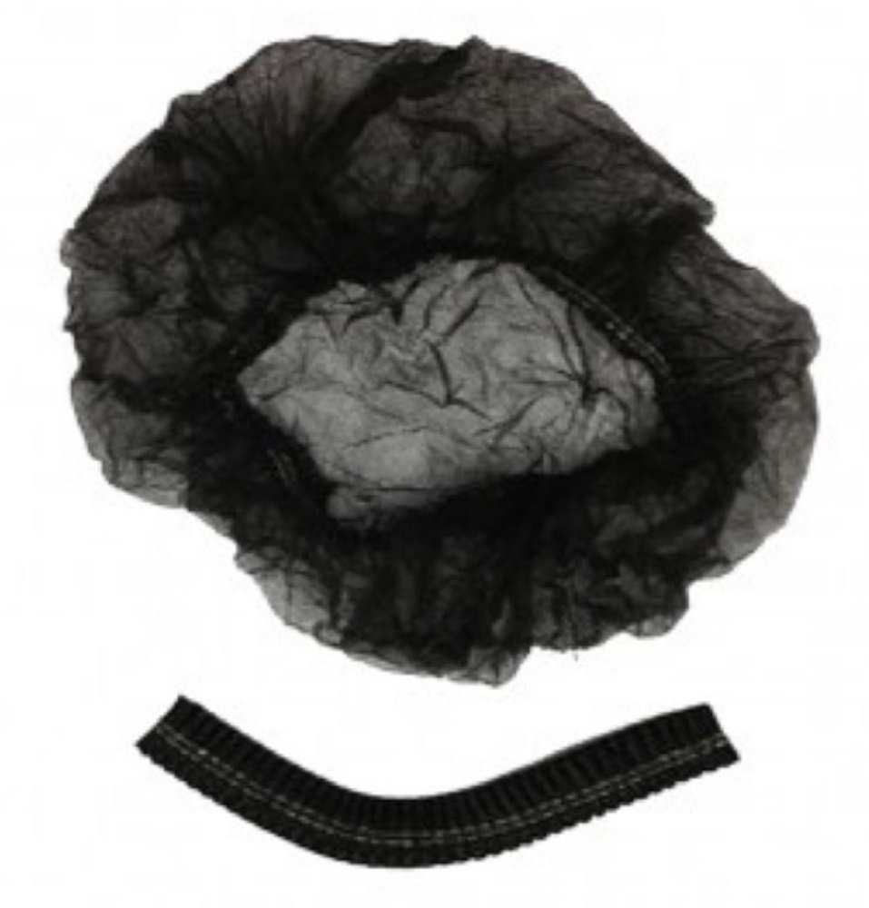 """100 Pack Black Mob Caps 21"""". Hair Caps with elastic stretch band. Disposable Polypropylene Hats. Unisex Protective Hair Covers for food service. Breathable, Lightweight. Free size. Wholesale price."""