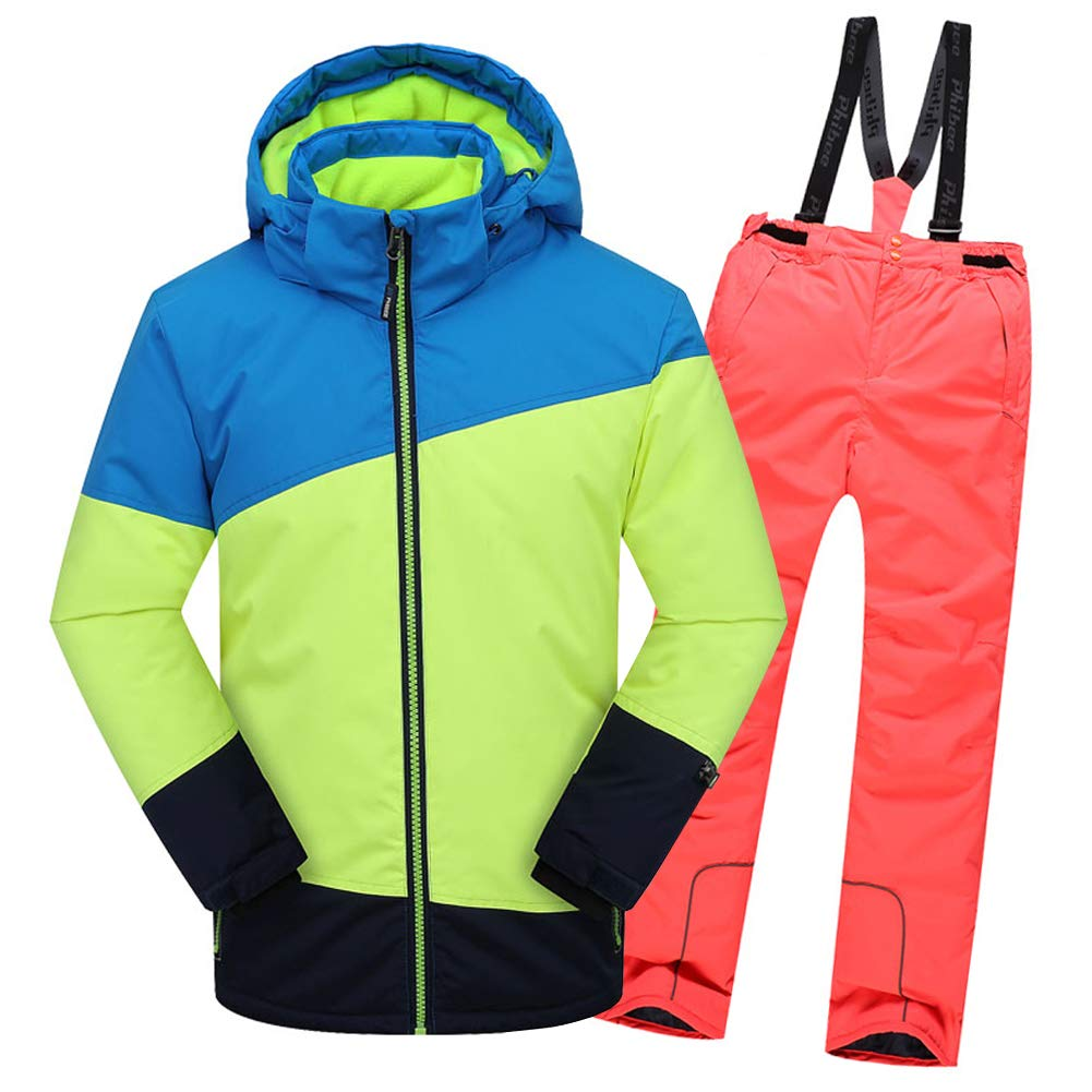 Top+pantalon Orange 4-5 ans  hauteur recomhommedée 105-115cm LPATTERN Enfant Garçon Fille Ensemble de Ski Coupe-Vent Combinaison Unisexe de Ski Imperméable Chaud épais 2PCS 3-13ans