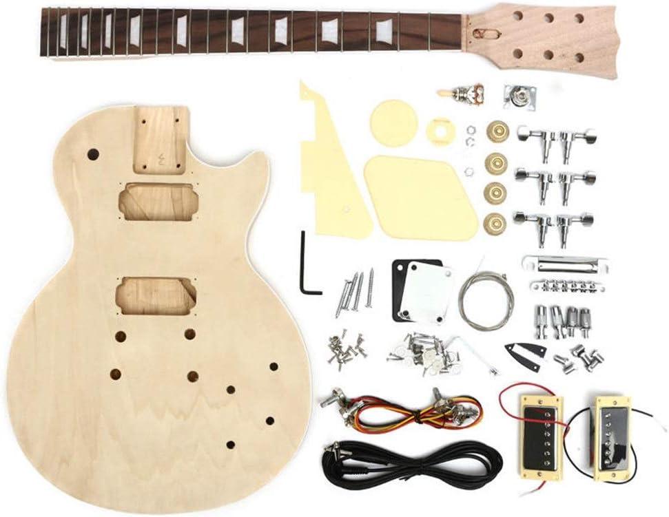 Guitarra 1 Conjunto de bricolaje de la guitarra eléctrica de cuerpo de madera maciza con una secuencia del cuello Tunning Clavijas inacabada Guitarra Kit ( Color : As shown , Size : 38x6x73cm )