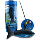 VGAzer Mini Radio Remote Control Rechargeable Funny Cute Shark Swim in Water RC Fish Electronic Toy Kids (Black)
