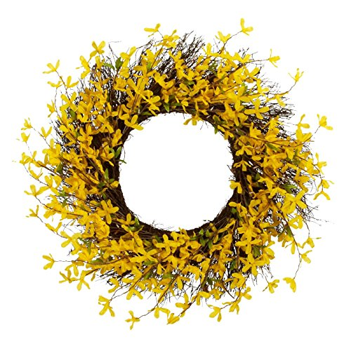 Spring Floral Front Door Forsythia Flower Wreath 19