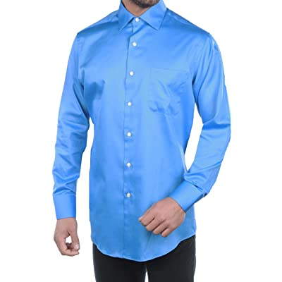 Geoffrey Beene Men's Cutaway Cuff Fitted Sateen Solid Dress Shirt at Men's Clothing store