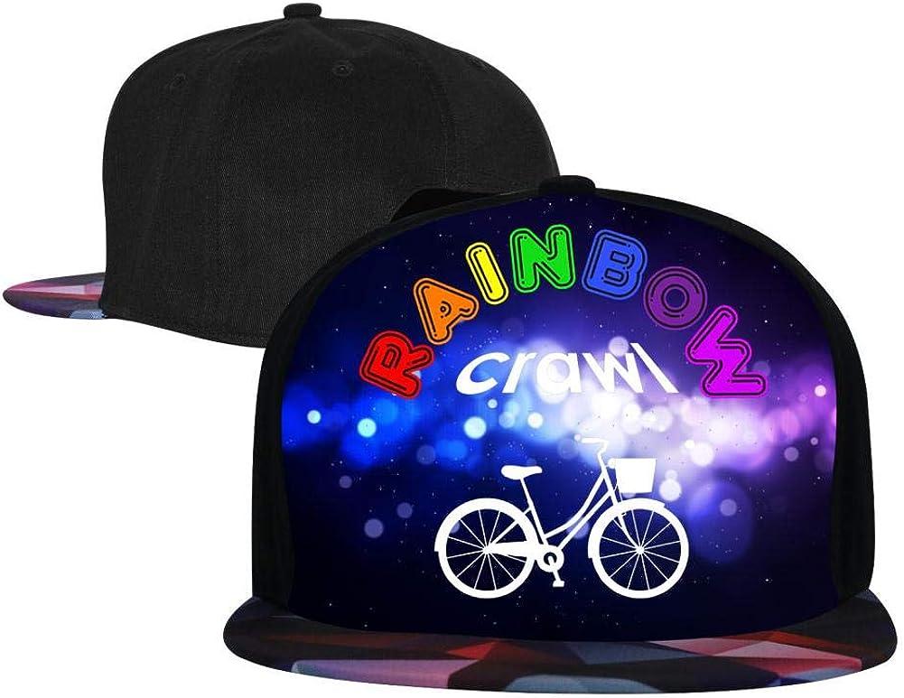 Adjustable Hip Hop Flat-Mouthed Baseball Caps Rainbow Crawl Custom Design Mens and Womens Trucker Hats