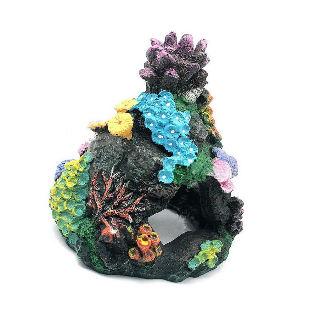 Unicoco Aquarium Resin Coral Fish Hiding Cave Shelter Underwater Landscape Decor Fish Tank Broken Resin Coral Cave