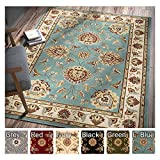 "Sultan Sarouk Light Blue Persian Floral Oriental Formal Traditional 8×11 8×10 (7'10"" x 10'6″ Area Rug Easy to Clean Stain / Fade Resistant Shed Free Contemporary Thick Soft Plush Living Dining Room For Sale"