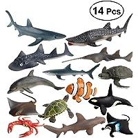 Toyvian 14pcs Mini mar Animales Juguetes Conjunto plástico simulación mar Animales Figuras Modelo Juguetes para niños niños