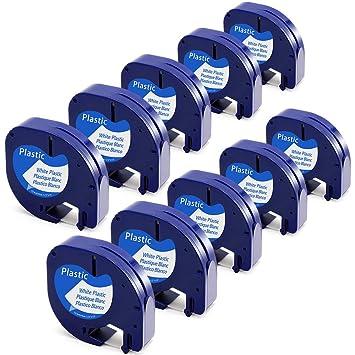 Dymo LetraTag 91201 91221 S0721610 12mm x 4m Blanco Pl/ástico Cintas Cassette Cintas de Etiquetas para LT-100H LT-100T QX 50 XR XM 2000 Plus 3 Cinta